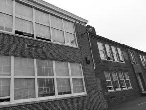 Black and white brick school house