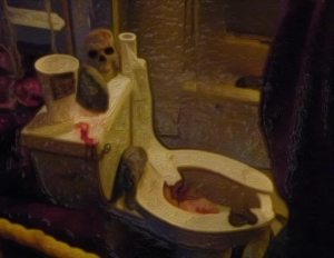 filthy toilet with bloody mess