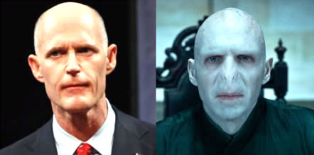 Rick Scott side by side with Lord Voldemort