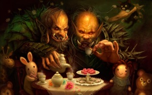 Trolls having a tea party
