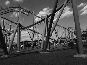Black and white photo of Superman Ride at Six Flags Great Adventure