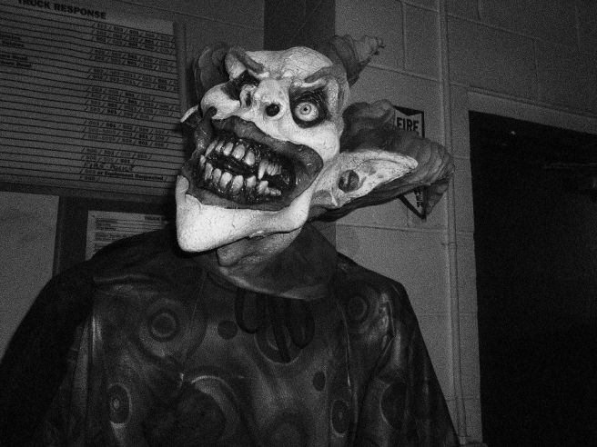 Scary Clown, black and white