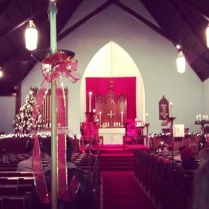 Inside of a church at Christmas