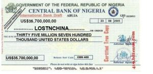 Bogus check from Central Bank of Nigeria