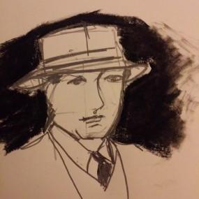Sketch of man in hat