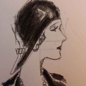 Sketch of woman in cloche hat