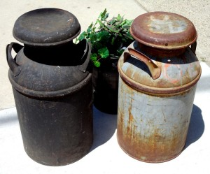 Rusted milk cans