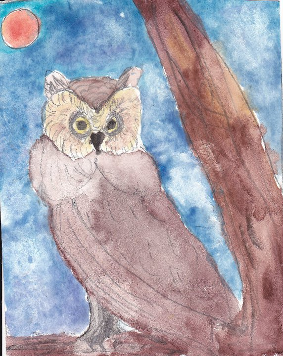 Water color owl with full moon in background
