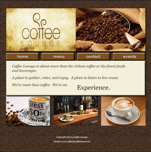 Coffee Shop Webpage Mock-up