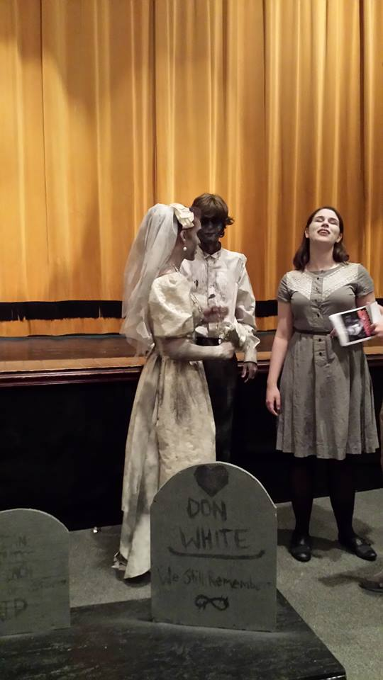 Zombie bride, broom, and kid.