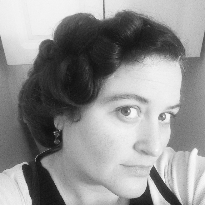 1940s style updo, black and white photo